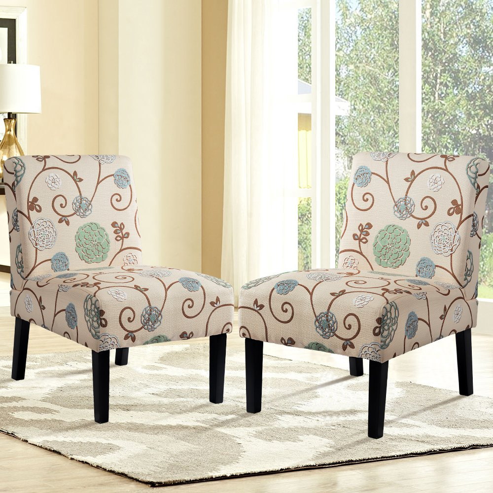 Harper&Bright Designs Upholstered Accent Chair Armless Living Room Chair Set of 2 (Beige/Floral)