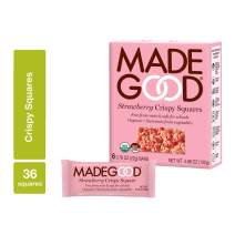 MadeGood Strawberry Crispy Squares, 6 Pack (36 count); Crunchy Rice with Sweet Strawberry; Contains Nutrients of One Full Serving of Vegetables; Gluten-Free, Nut-Free, Organic, Vegan, Non-GMO Treat