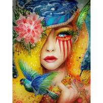 Ginfonr 5D Diamond Painting Kit Noble Lady Full Drill by Number Kits, Flower Women DIY Paint with Diamonds Art Colorful Girl Bird Rhinestone Craft Decor for Home (12x16 inch)