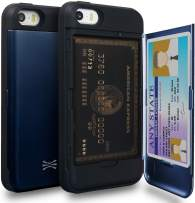 TORU CX PRO iPhone SE Wallet Case Blue with Hidden Credit Card Holder ID Slot Hard Cover & Mirror for iPhone SE/iPhone 5S / iPhone 5 - Navy Blue