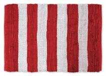 DII Contemporary Reversible Indoor Area Rag Rug, Machine Washable, Handmade from Recycled Fabrics, Unique For Bedroom, Living Room, Kitchen, Nursery and more, 4 x 6' - Red & White Stripes