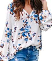 Happy Sailed Women's Casual Loose Shirt Long Sleeve V-Neck Blouse Tops