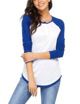 Zeagoo Women Long Raglan Sleeve O Neck Color Block Patchwork Pullover T-Shirt Top