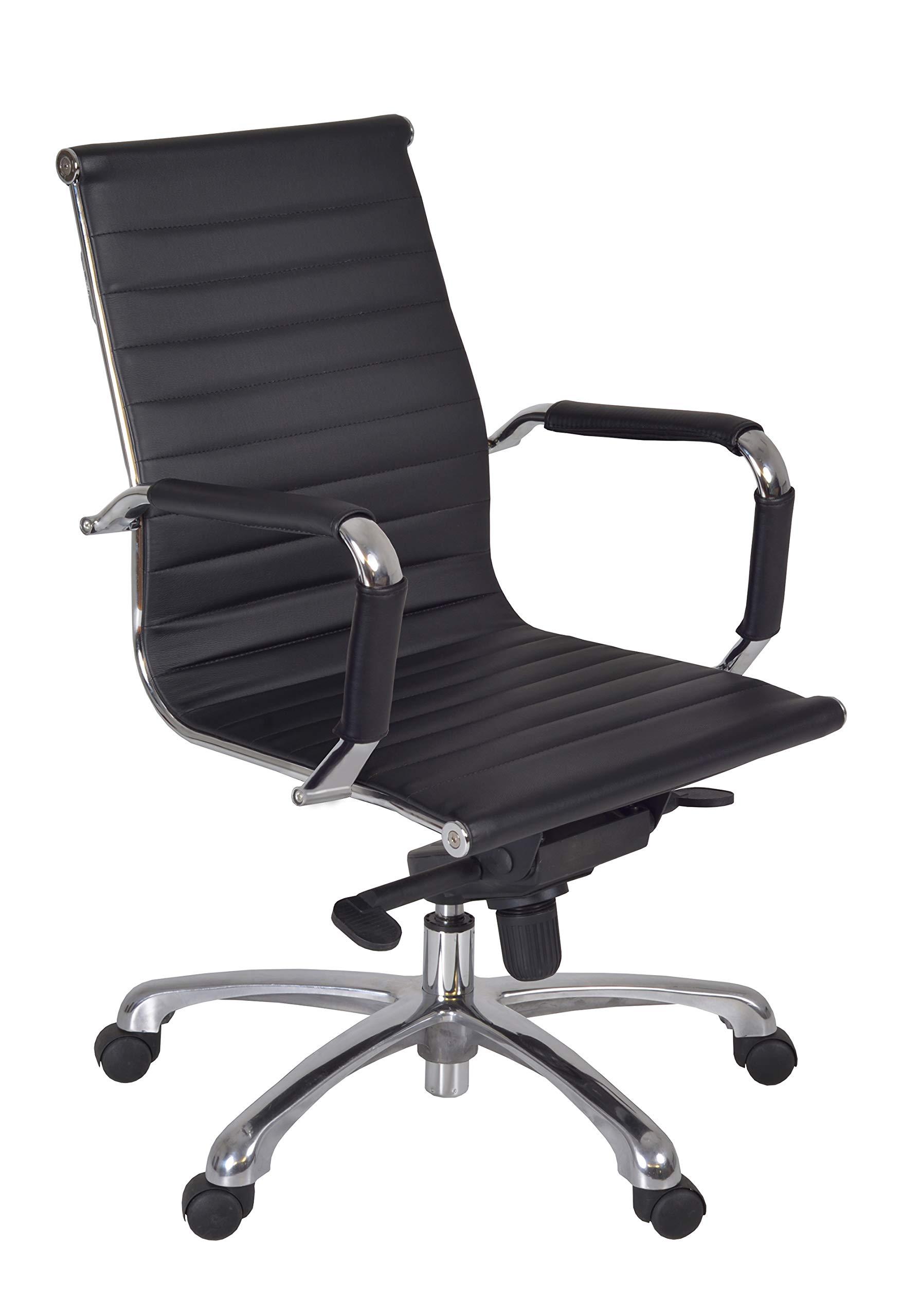 Regency Solace Black Leather/Chrome Swivel Chair