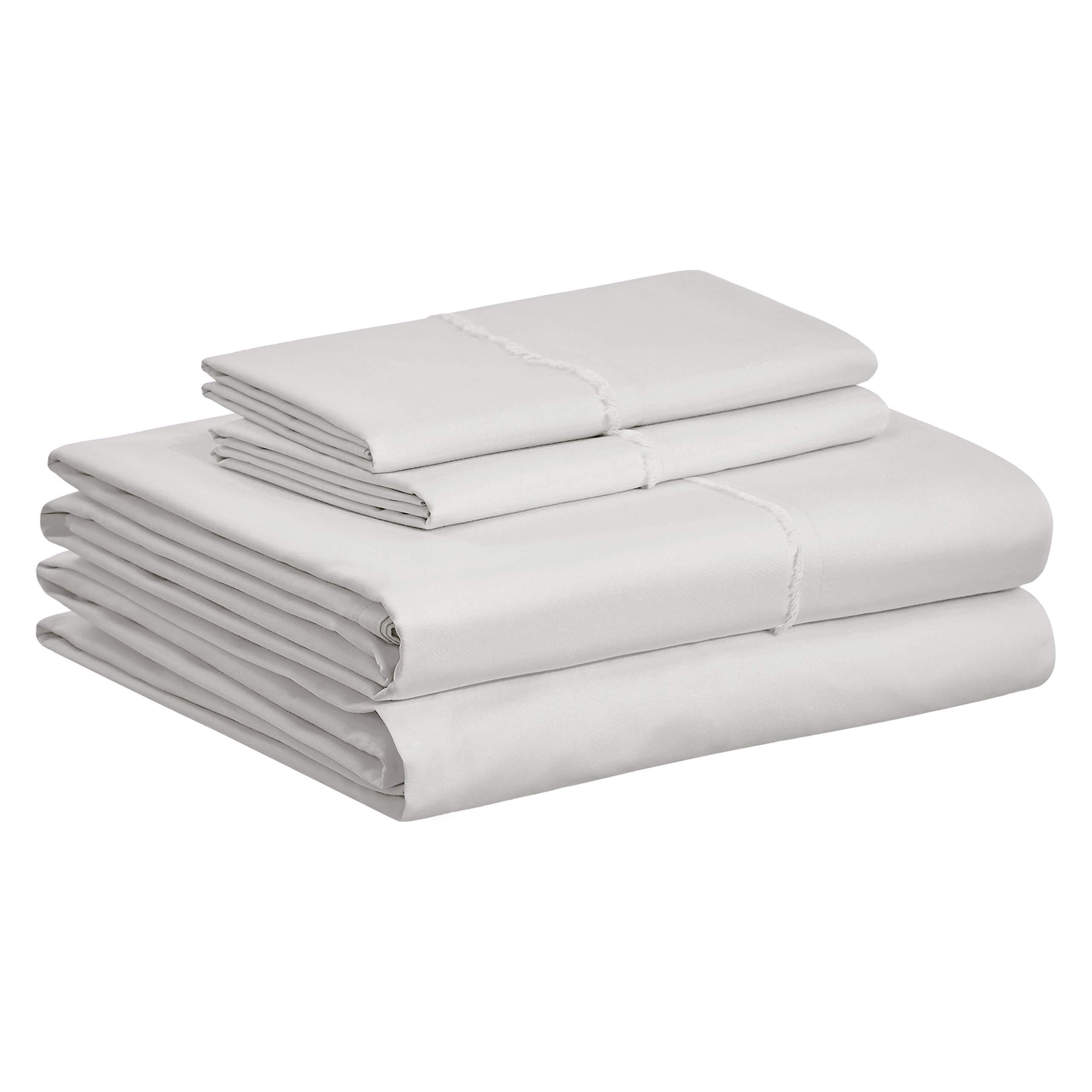 AmazonBasics Organic Percale Cotton Sheet Set with Frayed Hem - Queen, Soft Grey
