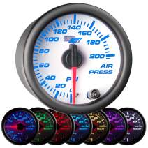 """GlowShift White 7 Color 200 PSI Mechanical Air Pressure Gauge - for Air Ride Suspension Systems - White Dial - Clear Lens - 2-1/16"""" 52mm"""