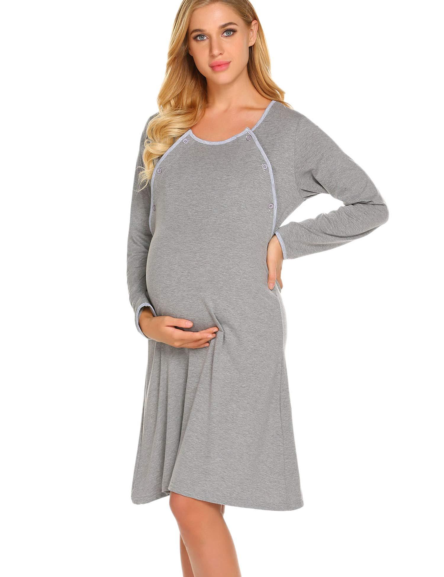 Ekouaer Maternity Nursing Nightgown Delivery/Labor/Hospital Gown Pregnancy Nightdress Sleepwear for Breastfeeding