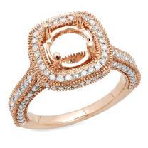 Dazzlingrock Collection 0.90 Carat (ctw) 10K Gold Round Cut White Diamond Ladies Bridal Semi Mount Engagement Ring