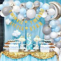 Twinkle Twinkle Little Star Baby Shower Decorations Moon and Star Balloon Arch for Boy's Birthday Blue Gray