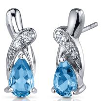 Peora Swiss Blue Topaz Earrings Sterling Silver 2.00 Carats Pear Shape CZ Accent