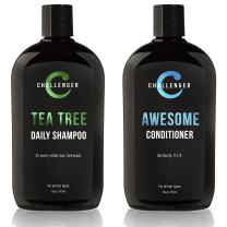 Challenger Men's Tea Tree Shampoo & Conditioner Combo, 2x 16 Oz Bottles | Sulfate Free w/Vitamins, Argan Oil, Biotin | Keratin, Vitamin C & D, Protein, Artificial Color & Gluten Free | Gentle Clean