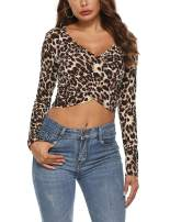 LYKSAW Sexy Chic Animal Print Deep V Neck Long Sleeve Unique Slim Fit Cross Wrap Shirts Crop Tops for Ladies Women Teen Girls