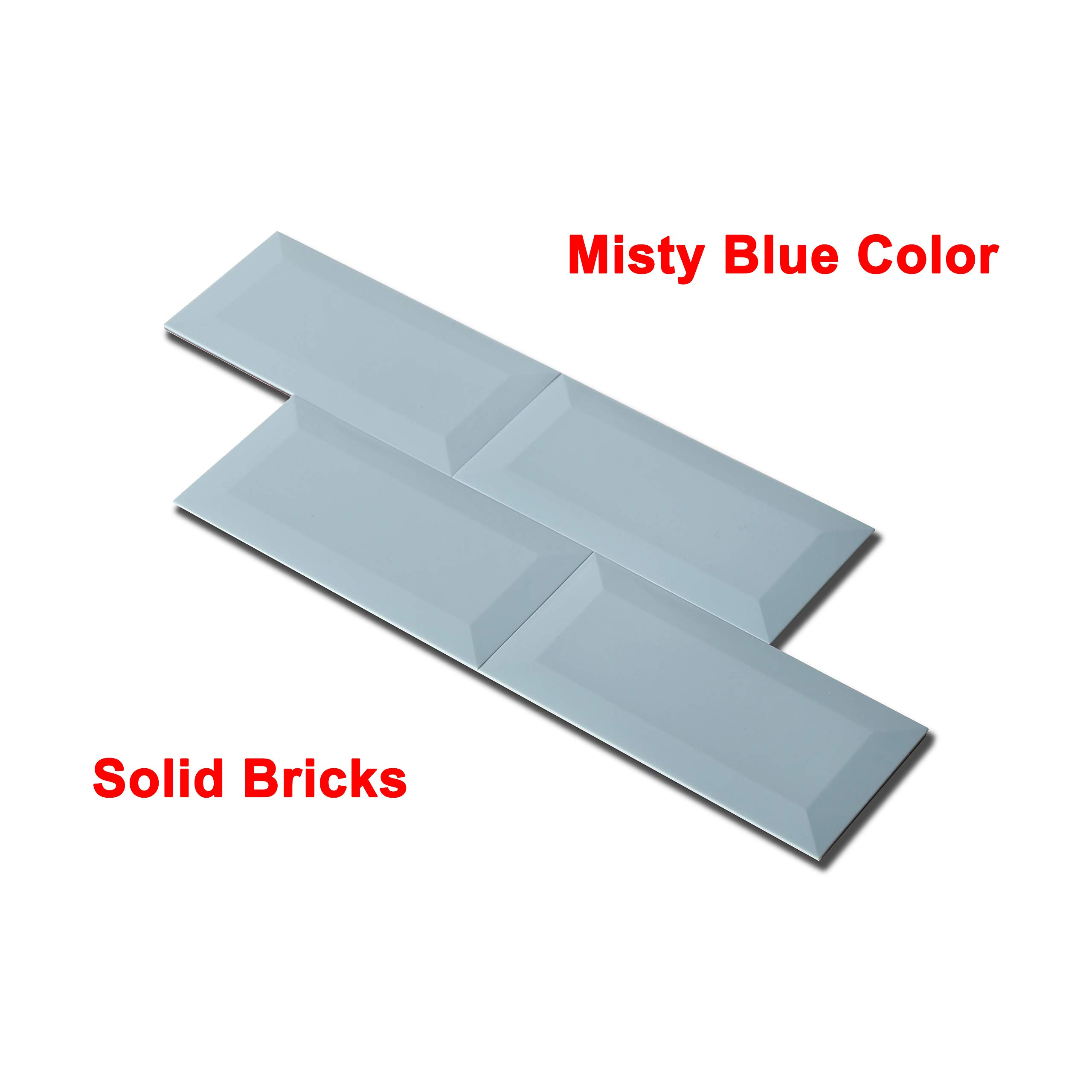 artesanía muro Peel and Stick Subway Tiles, Backsplash Tiles, Misty Blue Color, Water Proof, Anti-Moldy, 14.7 inch x 6 inch per Tile (Pack in 2 x Tiles)