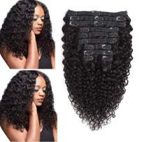 Rolisy Jerry Curly Clip in Human Hair Extensions,Real Thick Soft 8A Grade Human Hair for Women,Jerry Curly Hair Clip ins,Natural Black Color,10 Pcs,120 Gram,12 Inch