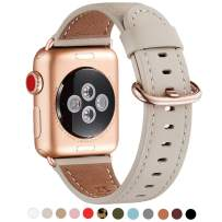 WFEAGL Compatible iWatch Band 40mm 38mm,Top Grain Leather Band with Gold Adapter(The Same as Series 5/4/3 with Gold Aluminum Case in Color)for iWatch Series 5/4/3/2/1(IvoryWhite Band+RoseGold Adapter)