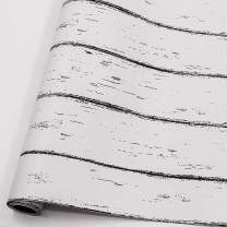 White Wood Contact Paper Distressed Wood Plank Peel and Stick Wallpaper Off Decorative Wall Covering White/Black Self-Adhesive Contact Paper Self-Adhesive Removable(17.71 in X 78.7 in, Vintage Wood)