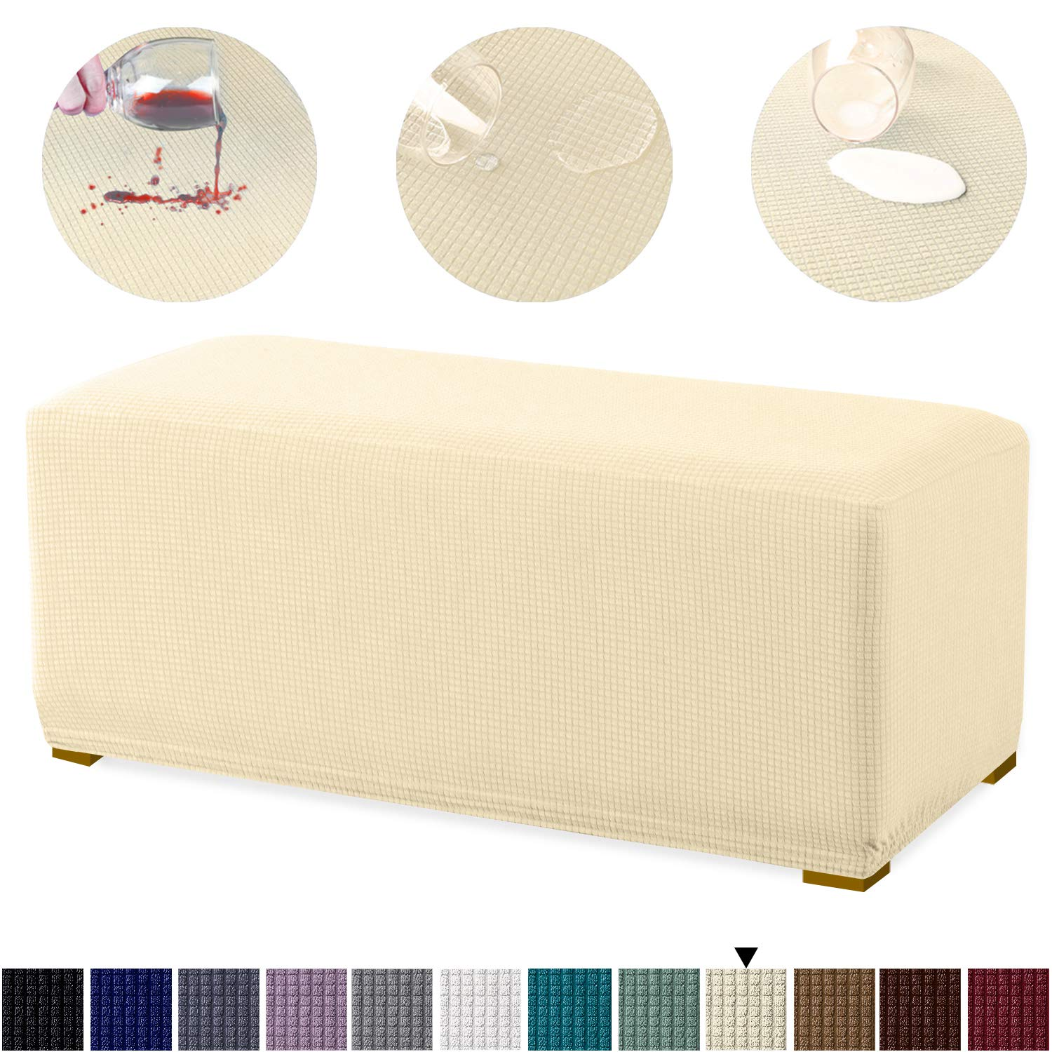 Granbest Premium Water Repellent Ottoman Cover High Stretch Rectangle Folding Storage Stool Ottoman Slipcovers (Ottoman Oversized, Beige)
