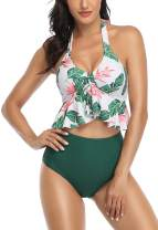 B2prity Women's Swimsuits High Waisted Bikini Swimsuit Two Piece Tankini Ruffled Top with Swim Bottom Bathing Suits