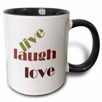 3dRose Live Laugh Love Two Tone Mug, 11 oz, Black