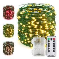 ER CHEN Color Changing Battery Operated Fairy String Lights with Remote Timer, 66Ft 200 LED 8 Modes Green Copper Wire Waterproof Christmas Lights for Bedroom, Patio, Garden, Yard (Warm White & Pink)