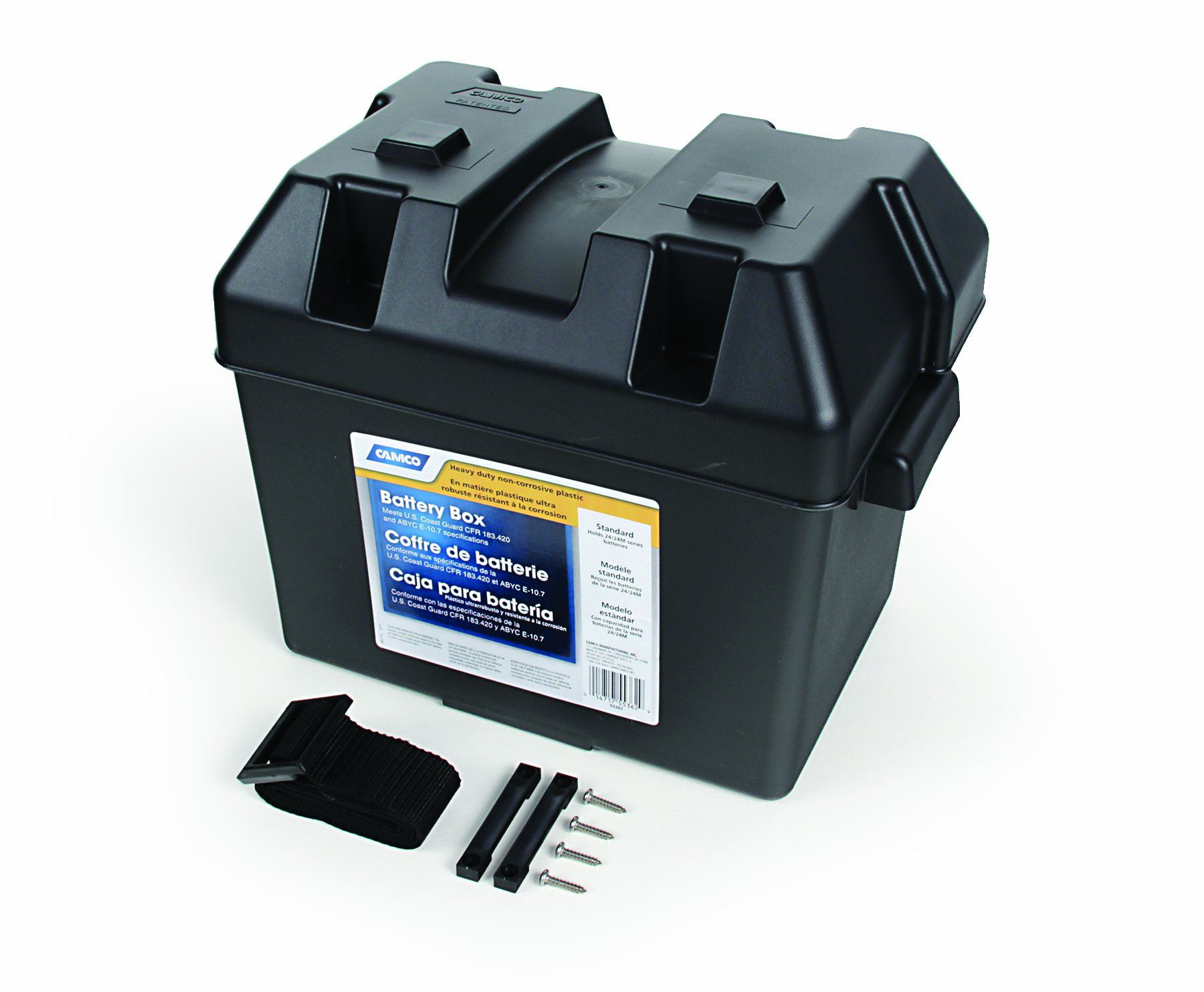 """Camco Heavy Duty Battery Box with Straps and Hardware - Group 24 