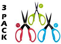 """Wonderful Scissors by Emma Oliver – 4, 6 & 7-1/2"""" Inch Serrated Blade Shears – Perfect for Cutting Fabric, Cloth, Paper & More (3 Pack Assortment)"""
