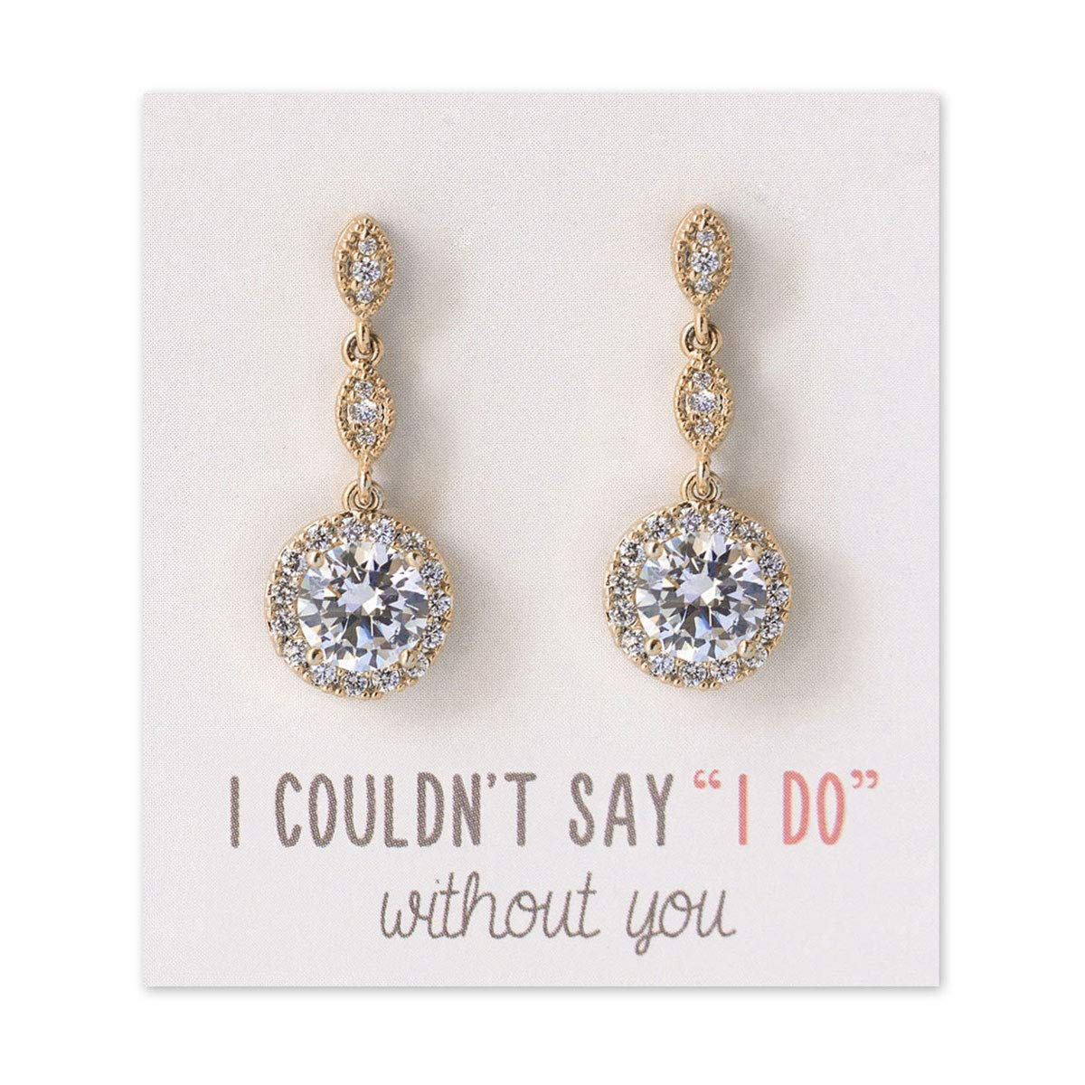 A+O Bridesmaid Gift, Wedding Drop Dangle Crystal Earrings in Silver, Gold, Rose Gold