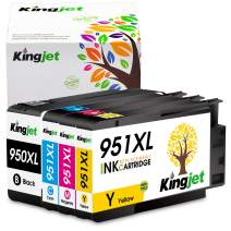 Kingjet Compatible Ink Cartridge Replacement for 950 951, 950XL 951XL Work with Officejet Pro 8100 8600 8610 8620 Printers, 1Set(1BK 1C 1M 1Y)