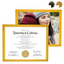 CREKERT Diploma Frame 8.5 x 11 Frame for Picture Documents Certificate Frame for Wall and Desk Real Solid Wood Golden Rim (Gold, 2 Pack)