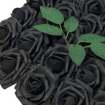 Wrapables Rose, Real Touch DIY Wedding Bouquets and Centerpieces, Black Artificial Flowers,