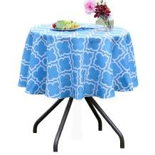 Poise3EHome 60 inches Outdoor/Indoor Waterproof Spillproof Round Tablecloth for Camping, Picnic, Patio, Party, Spring, Blue