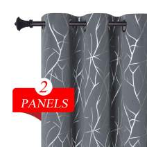 Estelar Textiler Blackout Curtains Grommet 84 Inches Long Elegant Wave Branches Silver Print Light Blocking Curtains for Dining Room 38W x 84L Grey 2 Panels