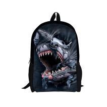 3D Print Shark Backpack Popular Bookbag School Rucksack for Elementary or Middle School Boys and Girls