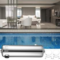 """Patiolife Pool Heat Exchanger 260 KBtu/h Tube Shell Heat Exchanger Opposing Side Ports 1 1/2"""" & 1"""" FPT Stainless Steel Swimming Pool Heat Exchanger for Marine Swimming Pool Solar Spa"""