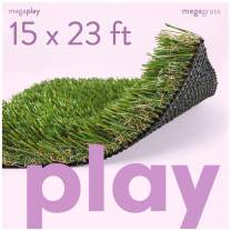 MEGAGRASS Premium Deluxe Artificial Grass for Playgrounds [Indoor or Outdoor Turf Rug Flooring and Thick Fake Grass Play Mat Pads for Kids, Pets, Dogs, Parks, Schools, and Daycares]