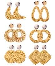 JOERICA 6 Pairs Rattan Drop Earrings Handmade Woven Statement Earrings Geometric Lightweight Dangle Stud Earrings For Women Girls