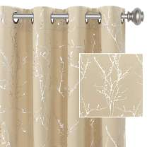 H.VERSAILTEX Blackout Curtains for Bedroom Foil Print Twig Tree Branch Thermal Insulated Grommet Curtain Drapes Light Blocking Thick Soft Window Curtains for Living 52 x 96 Inch Beige 2 Panels