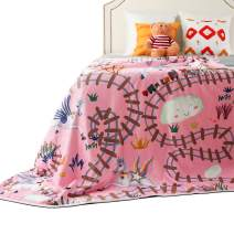 """Unicorn Blanket for Girls - Fleece Throw Blankets for Toddlers, Kids, Teens or Moms - Cute Warm Baby Blanket with Sherpa Plush Backing 