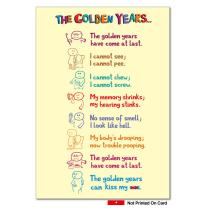Golden Years Irreverent - Touching Happy Birthday Card with Envelope (4.63 x 6.75 Inch) - Heart Warming Notecard Stationery for Grandparents, Elderly - Colorful Illustrated Greeting Card 0449