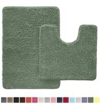 Gorilla Grip Original Shaggy Chenille 2 Piece Area Rug Set Includes Oval U-Shape Contoured Mat for Toilet and 30x20 Bathroom Rug, Machine Wash Dry, Plush Mats for Tub, Shower and Bath Room, Sage Green