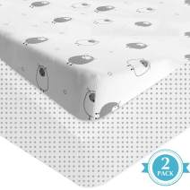 "Auroville Crib Fitted Sheets - 2 Pack Jersey Knit Cotton Crib Mattress Topper for Baby Boys Girls - Universal Fitted for Standard Baby or Toddler Crib Mattress (52"" x 28"" x 8"") Polka & Goats"