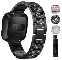 Valchinova Compatible with Fitbit Versa Band Replacement for Women Metal Versa Lite Bracelet Galaxy Gear S3 Classic Watchband Amazfit 2 Stratos Strap Watch Urbane Wristband Zenwatch 1 Gen (Black)