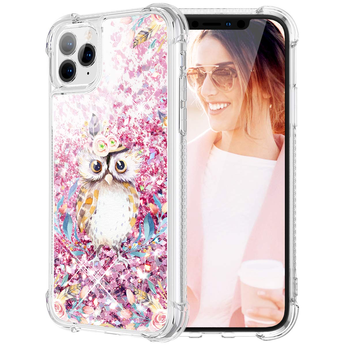 Caka Flower Case for iPhone 11 Pro Max Floral Glitter Case Bling Sparkle Flower Pattern Liquid TPU Cushion Protective Women Girls Luxury Flowing Pink Phone Case for iPhone 11 Pro Max (Owl)