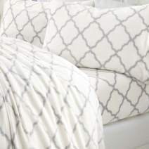 Extra Soft Cozy Velvet Plush Sheet Set. Deluxe Bed Sheets with Deep Pockets. Velvet Luxe Collection (Full, White/Grey)
