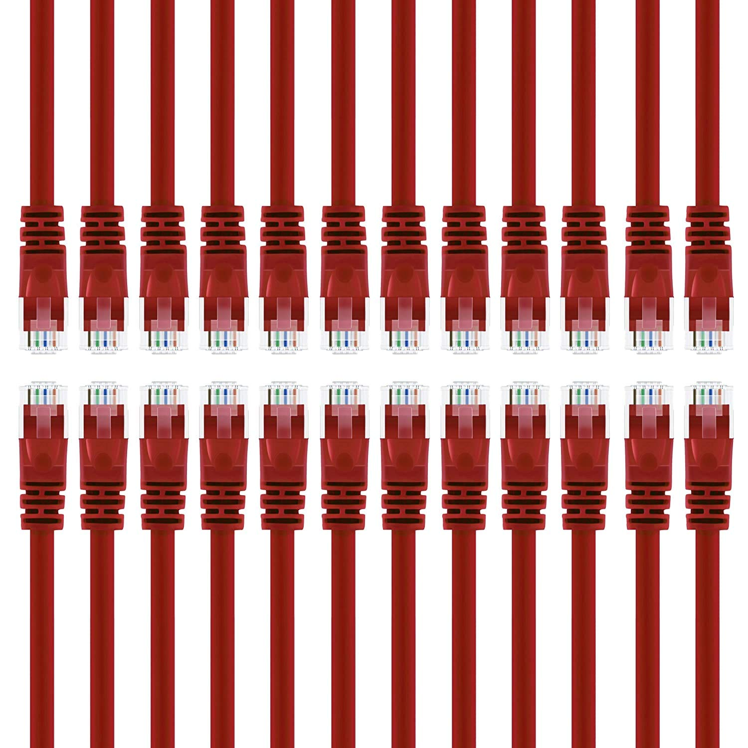 GearIT 24-Pack, Cat 6 Ethernet Cable Cat6 Snagless Patch 3 Feet - Snagless RJ45 Computer LAN Network Cord, Red - Compatible with 24 48 Port Switch POE Rackmount 24port Gigabit