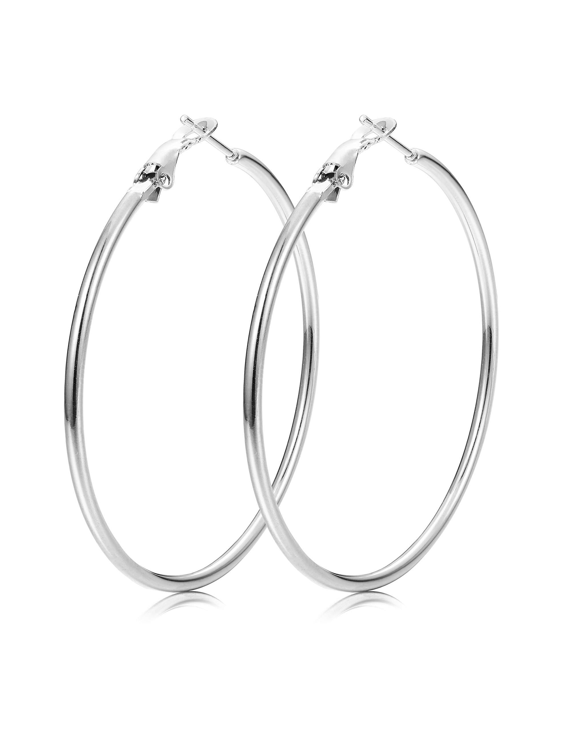ORAZIO Hoop Earrings for Women Girls Stainless Steel Hoop Earrings in Gold Plated Rose Gold Plated Silver Black 30MM-80MM