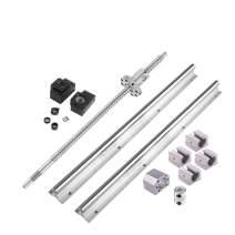 Linear Guide Rail Ball Screw Kit, 2PCS Linear Rail SBR16-1000mm + Ballscrew RM1605-1000mm Set Includes 4pcs SBR16UU Bearing Block, Coupler, BK/BF 12 and Screw&Ball Nut Housing, for CNC Machine