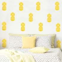 "Set of 20 Vinyl Wall Art Decal - Pineapples - 7"" x 4"" Each - Trendy Modern Summer Theme Home Bedroom Living Room Dorm Room Apartment Office Workplace Playroom Nursery Decor (Yellow, 7"" x 4"" Each)"