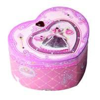 Dudubuy Princess Rose Slippers Musical Jewelry Box Heart Shaped Elise Tune Girls Sweet