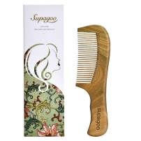 Natural Green Sandalwood Hair Comb,100% Hand Made Wood Comb Scalp Massage Comb for Women or Girl